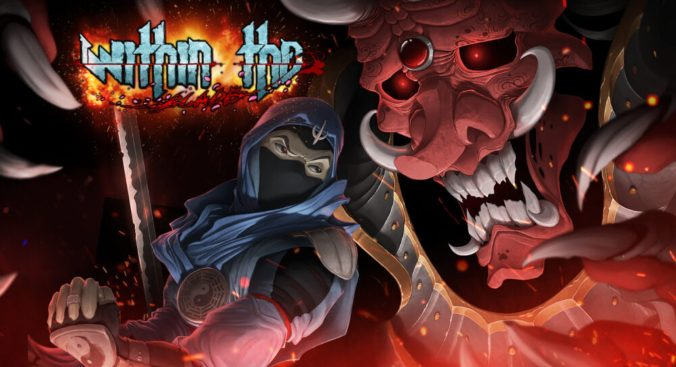 A ninja in blue garb is underneath the face of a red demon with horns and teeth showing. In the top left the title 'Within the Blade' is superimposed.