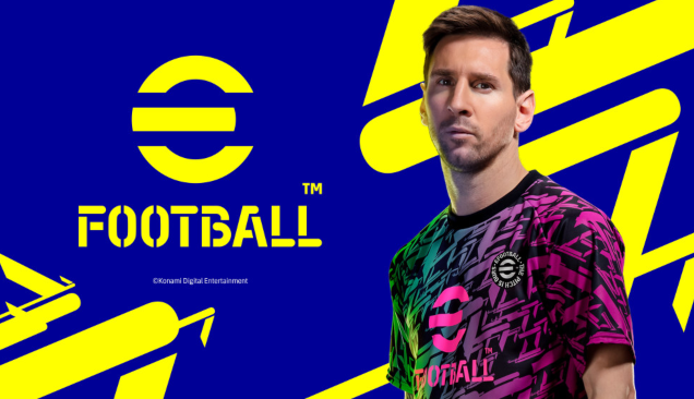 A title screen for a video game. On a blue background, the title 'eFootball' is placed in yellow font. To the right stands football player Lionel Messi.