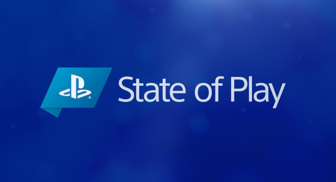 Superimposed onto a blue background is a white Playstation logo on a rectangular light blue background, beside 'State of Play'