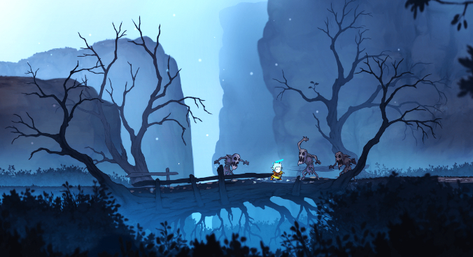 A screenshot of a hand drawn video game. A small figure in yellow garb and light blue hair brandishes a sword as ghoul-like monsters approach the figure from all sides. They stand on a bridge with crooked trees on either side.