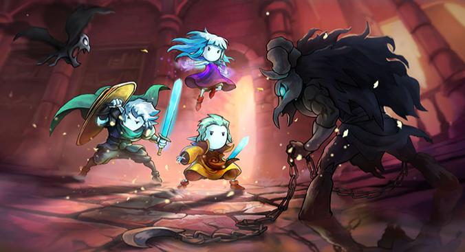 The promo image of elf-like protagonists Greak, Adara and Raydel fighting menacing enemies