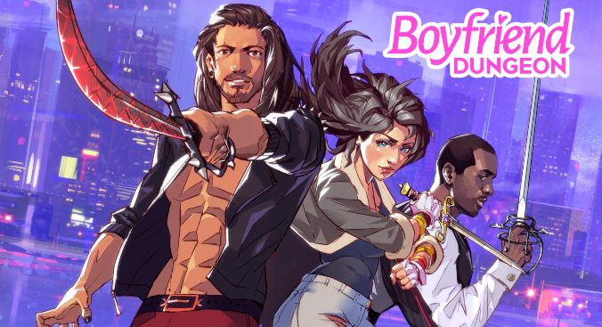 Key art for Boyfriend Dungeon: three figures pose in a line with different bladed weapons. In the background is a cityscape drenched in a purple filter.