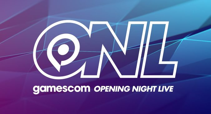 """the text """"ONL"""" fills the screen. Below is the text """"Gamescom Opening Night Live"""". The background is a blue and purple colour gradient."""