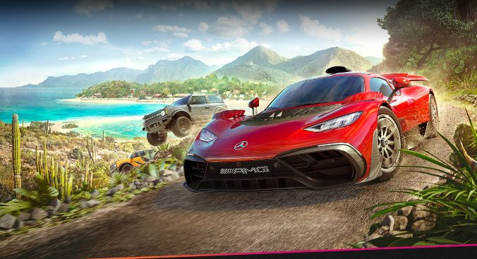 The cover art for Forza Horizon 5. A red supercar drifts on a dirt track whilst a large yellow car flies off the track. In the background are tropical trees and beaches.
