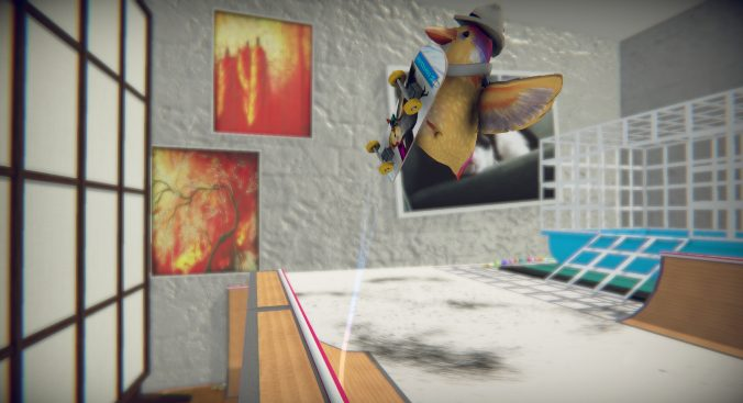 A small yellow bird, riding a skateboard and wearing a white safari hat, flies off a ramp. In the background is a white brick wall with orange pieces of art.