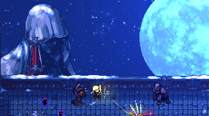 A screenshot from the game Hunt The Night depicting a bridge with a blue night sky, a full moon and a hooded statue behind it. The main character is fight off demonic enemies on the bridge.